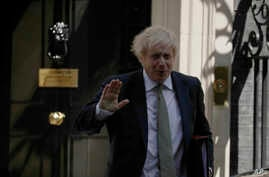 British Prime Minister Boris Johnson leaves 10 Downing Street in London, to attend his first weekly Prime Minister's Questions since recovering from coronavirus, at the Houses of Parliament, in London, May 6, 2020.