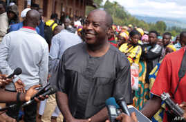 Evariste Ndayishimiye, Burundi's Presidential candidate of the ruling party CNDD-FDD, speaks to the media after voting during presidential and general elections at Bubu Primary school in Giheta, May 20, 2020.