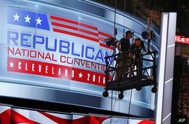 FILE - In this July 13, 2016, photo, the main stage of the Republican Convention is prepared at the Quicken Loans Arena in downtown Cleveland, Ohio.