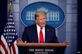 FILE - President Donald Trump speaks about the coronavirus in the James Brady Press Briefing Room of the White House in Washington, April 22, 2020.