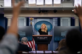 White House press secretary Kayleigh McEnany speaks during a press briefing at the White House, May 1, 2020, in Washington.