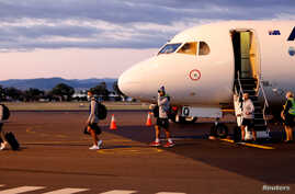 The New Zealand Warriors NRL team, which will live and train in Australia under quarantine conditions due to the coronavirus disease (COVID-19), arrives at the Tamworth Airport in Tamworth, Australia, May 3, 2020.