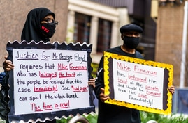 Protesters gather outside the Public Safety Facility building on June 29, 2020 in Minneapolis, Minnesota before former…
