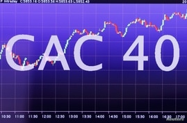 FILE PHOTO: An electronic screen shows CAC 40 stock information at the Euronext headquarters