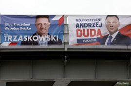 Election posters of presidential candidates Warsaw's mayor Rafal Trzaskowski and Poland's President Andrzej Duda are seen…