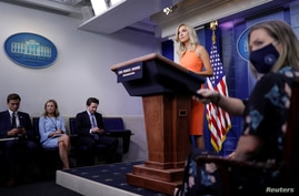 White House Press Secretary Kayleigh McEnany holds a daily press briefing at the White House in Washington, U.S., June 29, 2020…