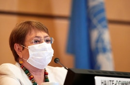 U.N. High Commissioner for Human Rights Michelle Bachelet attends the 44th session of the Human Rights Council at the European headquarters of the United Nations in Geneva, Switzerland, June 30, 2020.