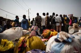 A group of newly displaced people who fled from Barsalogho following an armed attack, Jan. 21, 2020.