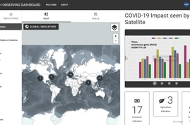 A screenshot of the COVID19 Earth Observation Dash Board, June 25, 2020. (Courtesy eodashboard.org)