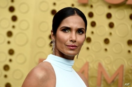 FILE - Padma Lakshmi arrives at the 71st Primetime Emmy Awards, Sept. 22, 2019, at the Microsoft Theater in Los Angeles.