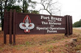 A sign for at Fort Bragg, N.C., is shown, Jan. 4, 2020.