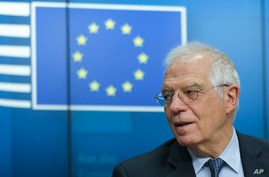 FILE - European Union foreign policy chief Josep Borrell speaks during an online news conference following a video conference of European Foreign and Defense Ministers meeting at the Europa building in Brussels, June 16, 2020.