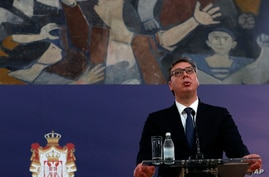 In this photo taken on Thursday, June 18, 2020, Serbia's President Aleksandar Vucic speaks during a joint press conference…
