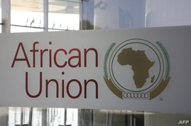 FILE - The logo of the African Union (AU) is seen at the entrance of AU headquarters in Addis Ababa, Ethiopia, March 13, 2019.
