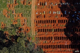 An aerial view shows a burial site at the Vila Formosa cemetery during the coronavirus pandemic, in Sao Paulo, Brazil, June 21, 2020.