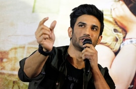 "FILE - Bollywood actor Sushant Singh Rajput speaks during a press conference to promote his  movie ""Raabta"" in Ahmadabad, India, May 30, 2017."