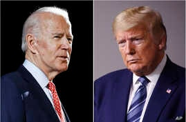 FILE - In this combination of photos, former Vice President Joe Biden, left, speaks in Wilmington, Delaware, March 12, 2020, and President Donald Trump speaks at the White House in Washington, April 5, 2020.