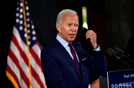 FILE - Democratic U.S. presidential candidate and former Vice President Joe Biden speaks during a campaign event at a recreation center in Lancaster, Pennsylvania, June 25, 2020.