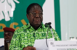 Former President Henri Konan Bedie speaks during his party's Parti Democratique de la Cote d'Ivoire (PDCI) meeting in Daoukro, Ivory Coast, Oct. 15, 2018.