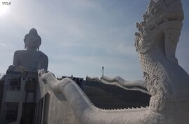 A massive hilltop Buddhist temple is a popular draw for tourists on the Thai island of Phuket. (VOA News)