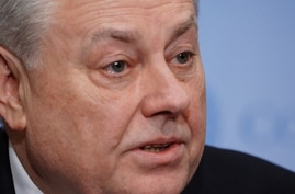 Volodymyr Yelchenko, Ukraine's ambassador to the United Nations speaks to the media following a meeting of the United Nations…