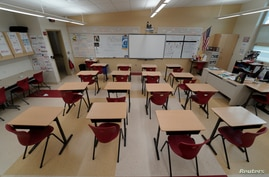 A classroom sits empty ahead of the statewide school closures in Ohio.