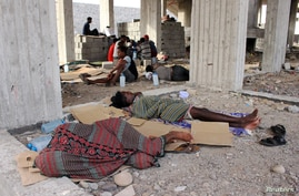 Ethiopian migrants sleep in an under-construction building in Aden, Yemen June 15, 2020. Picture taken June 15, 2020. REUTERS…