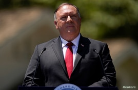 Secretary of State Mike Pompeo speaks at the Richard Nixon Presidential Library, July 23, 2020, in Yorba Linda.