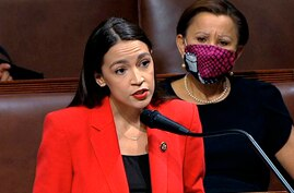 Rep. Alexandria Ocasio-Cortez, D-N.Y., speaks on the House floor on Capitol Hill in Washington, July 23, 2020.
