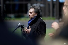 Chicago Mayor Lori Lightfoot speaks at a news conference in front of Wrigley Field in Chicago, Thursday, April 16, 2020. The…