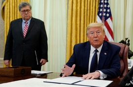President Donald Trump speaks before signing an executive order aimed at curbing protections for social media giants, in the…