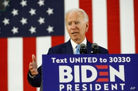 Democratic presidential candidate, former Vice President Joe Biden speaks at Alexis Dupont High School in Wilmington, Del.