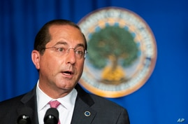 Department of Health and Human Services Secretary Alex Azar speaks during a White House Coronavirus Task Force briefing at the…