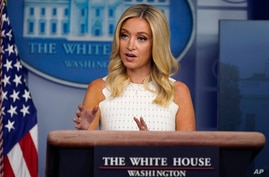 White House press secretary Kayleigh McEnany speaks during a press briefing at the White House, Thursday, July 9, 2020, in…