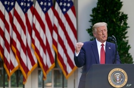 President Donald Trump speaks during a news conference in the Rose Garden of the White House, Tuesday, July 14, 2020, in…