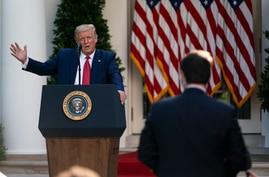 President Donald Trump speaks during a news conference in the Rose Garden of the White House, July 14, 2020, in Washington.