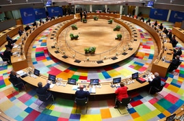 European Union leaders during a round table meeting at an EU summit in Brussels, July 17, 2020.