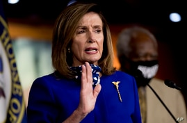 House Speaker Nancy Pelosi of Calif. speaks at a news conference on Capitol Hill in Washington, Friday, July 24, 2020, on the…