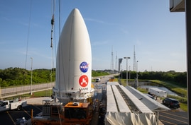 The payload fairing, or nose cone, containing the Mars 2020 Perseverance rover sits atop the motorized payload transporter that will carry it to Space Launch Complex 41 on Cape Canaveral Air Force Station in Florida, July 7, 2020.(Credit: NASA/KSC)