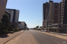 Gaborone's Central Business District is deserted as the capital returns to lockdown, in Botswana, July 31, 2020. (MqondisiDube/VOA)