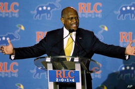 FILE - Herman Cain addresses a Republican Leadership Conference in New Orleans, Louisiana, May 31, 2014.