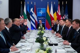 FILE - President Donald Trump speaks during a working lunch with leaders of NATO members countries that have met their financial commitments to the the organization, in Watford, England, Dec. 4, 2019.
