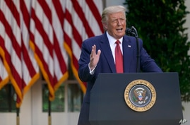 FILE - President Donald Trump speaks during a news conference in the Rose Garden of the White House, in Washington, July 14, 2020.