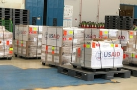 A humanitarian aid shipment from the United States to Pakistan is seen in this photo the U.S. embassy shared on Twitter.