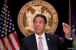 FILE - New York Governor Andrew Cuomo speaks during a daily briefing amid the coronavirus pandemic, in Manhattan, New York City, July 13, 2020.