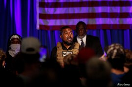 Rapper Kanye West holds his first rally in support of his presidential bid, in North Charleston, South Carolina, July 19, 2020.