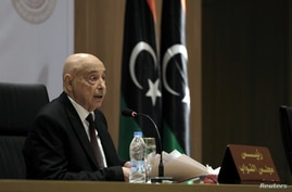 FILE - Aguila Saleh, Libya's parliament president, speaks during the first session at parliament headquarters in Benghazi, Libya, April 13, 2019.
