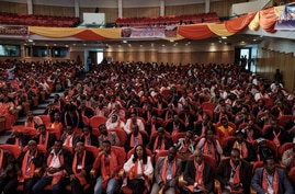 A picture shows a general view of attendees at the Tigray People's Liberation Front (TPLF)  First Emergency General Congress in…