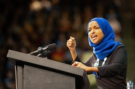 Minnesota's Representative Ilhan Omar speaks to the crowd during a rally for Democratic presidential hopeful Vermont Senator…