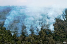 Aerial view showing large scale forest fires in Pocone, Pantanal region (the largest tropical wetlands in the world), Mato…